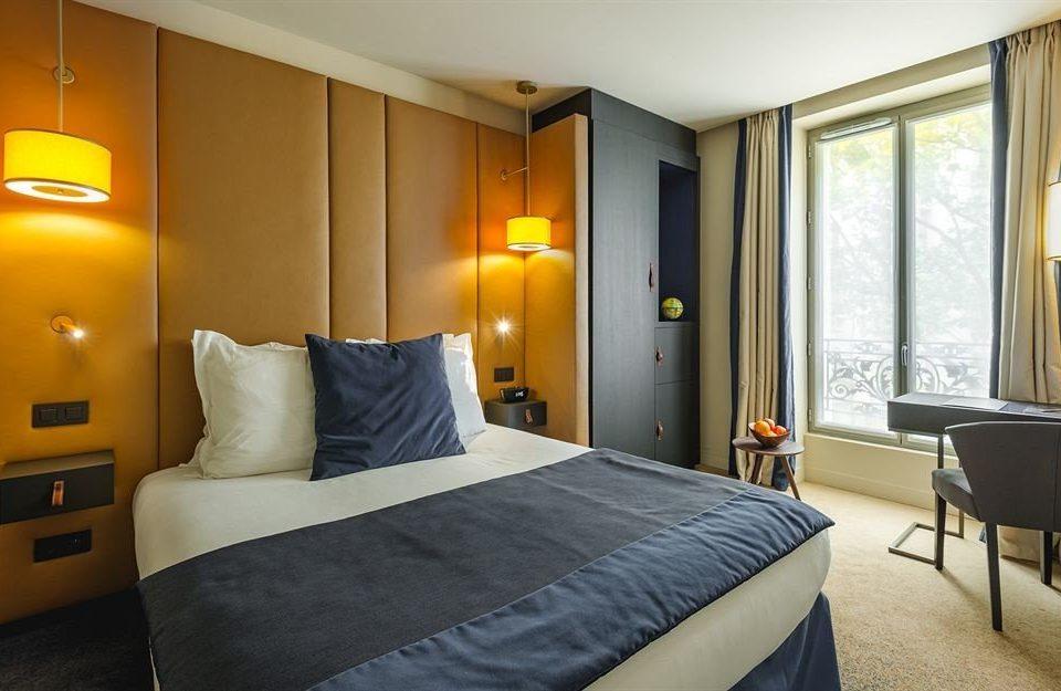 Bedroom property yellow Suite cottage condominium night
