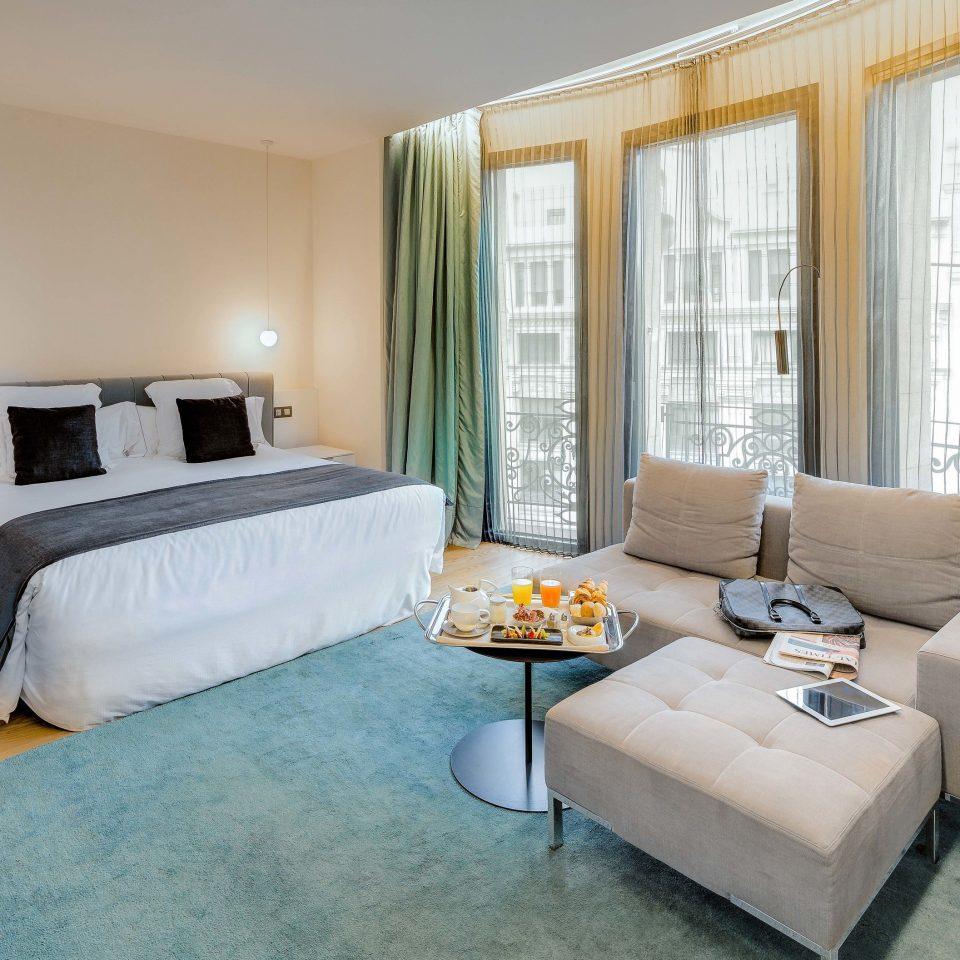 Suite living room Bedroom home window treatment interior designer containing
