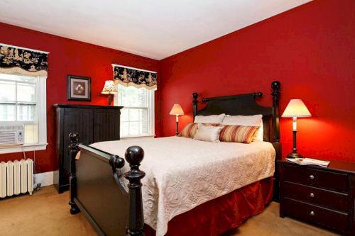 sofa red property Bedroom cottage Suite