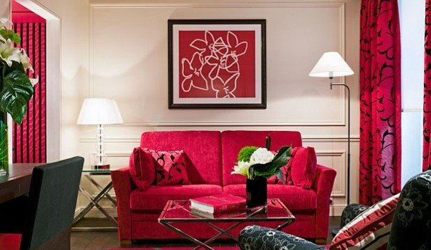 living room red home couch Suite interior designer decor window treatment Bedroom leather