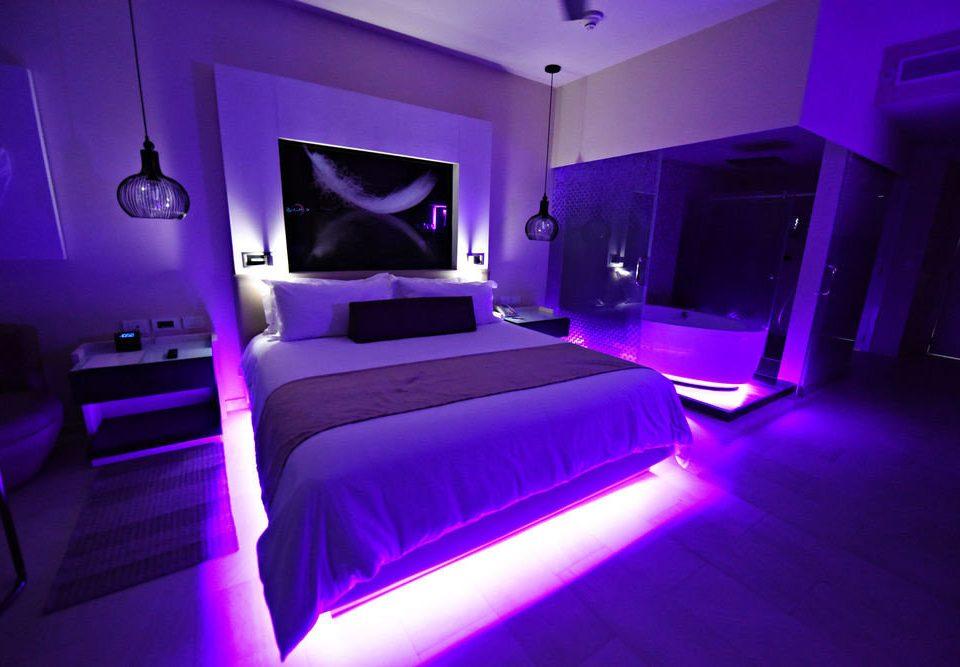 purple nightclub Suite Bedroom light