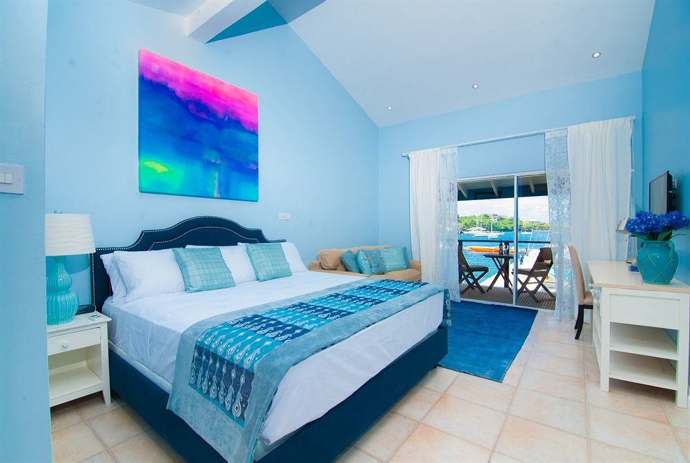 property Bedroom blue condominium Suite bed sheet Villa