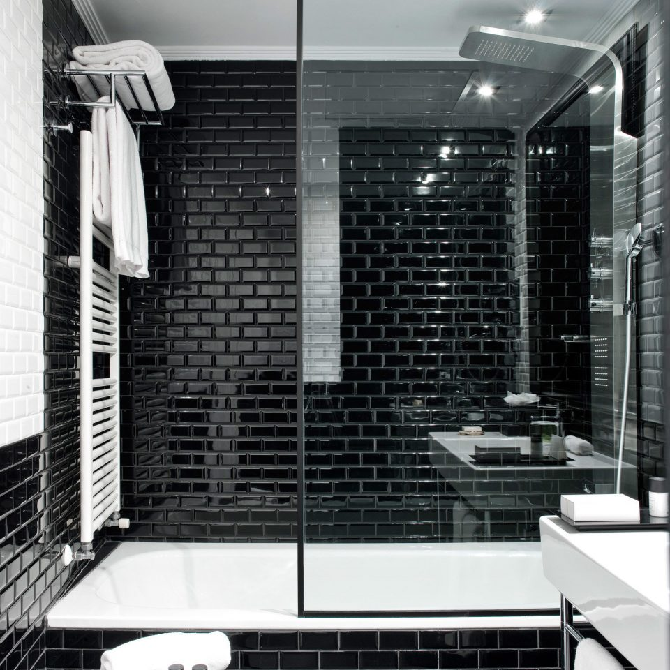black and white black home white plumbing fixture tile tiled
