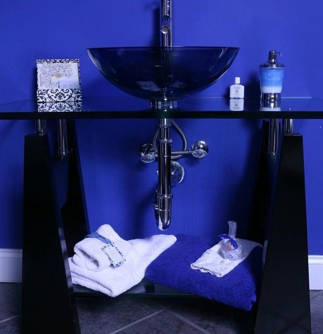 blue black lighting shape glass flooring plumbing fixture tile tiled