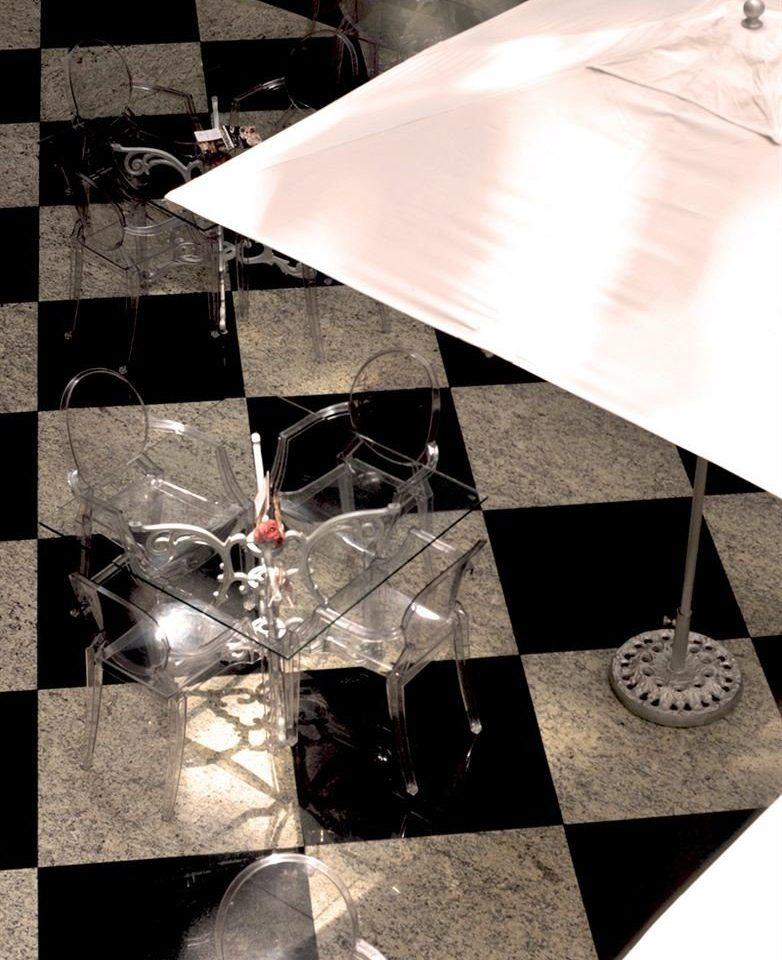 white black umbrella lighting shape clear tiled