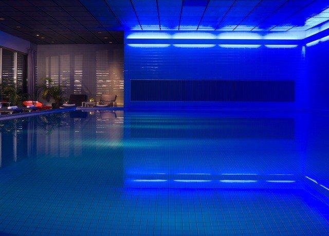 blue swimming pool light leisure centre stage nightclub empty bright
