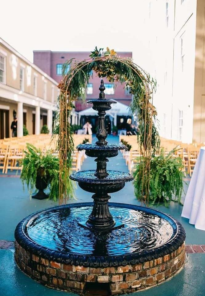 building fountain plant water feature swimming pool blue