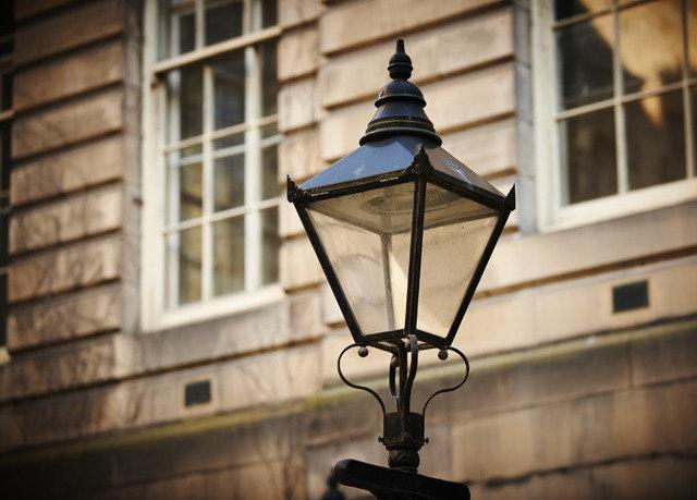 building blue light street light light fixture lighting lantern