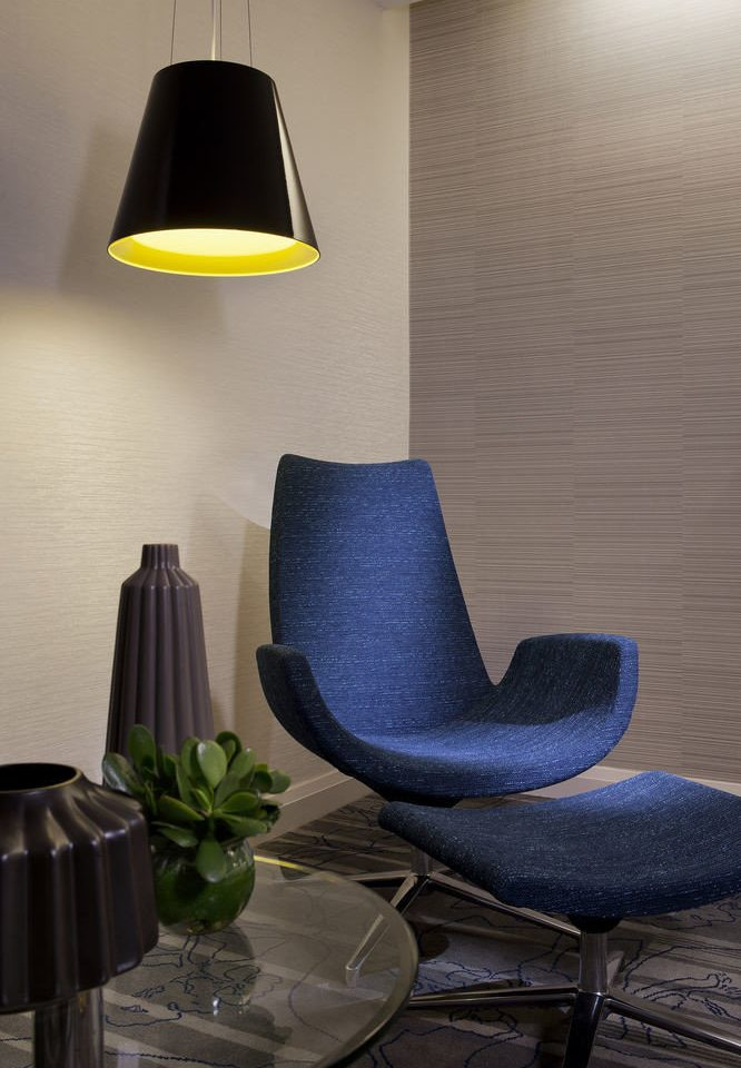 blue chair living room lighting