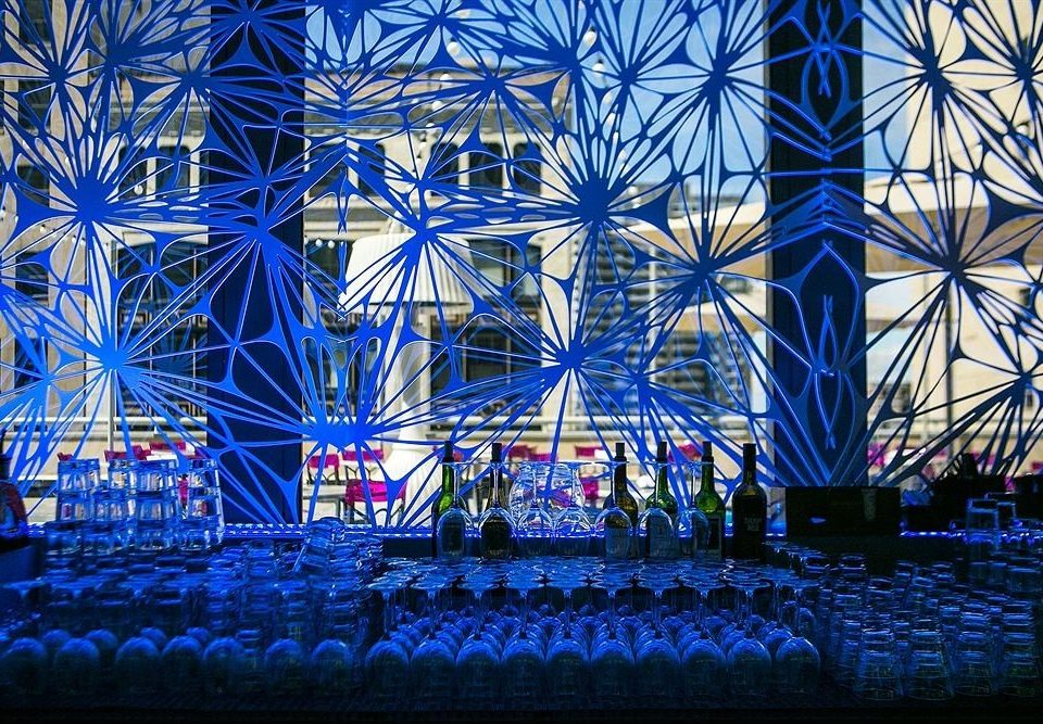 blue colorful night stage christmas lights symmetry cityscape flower colored