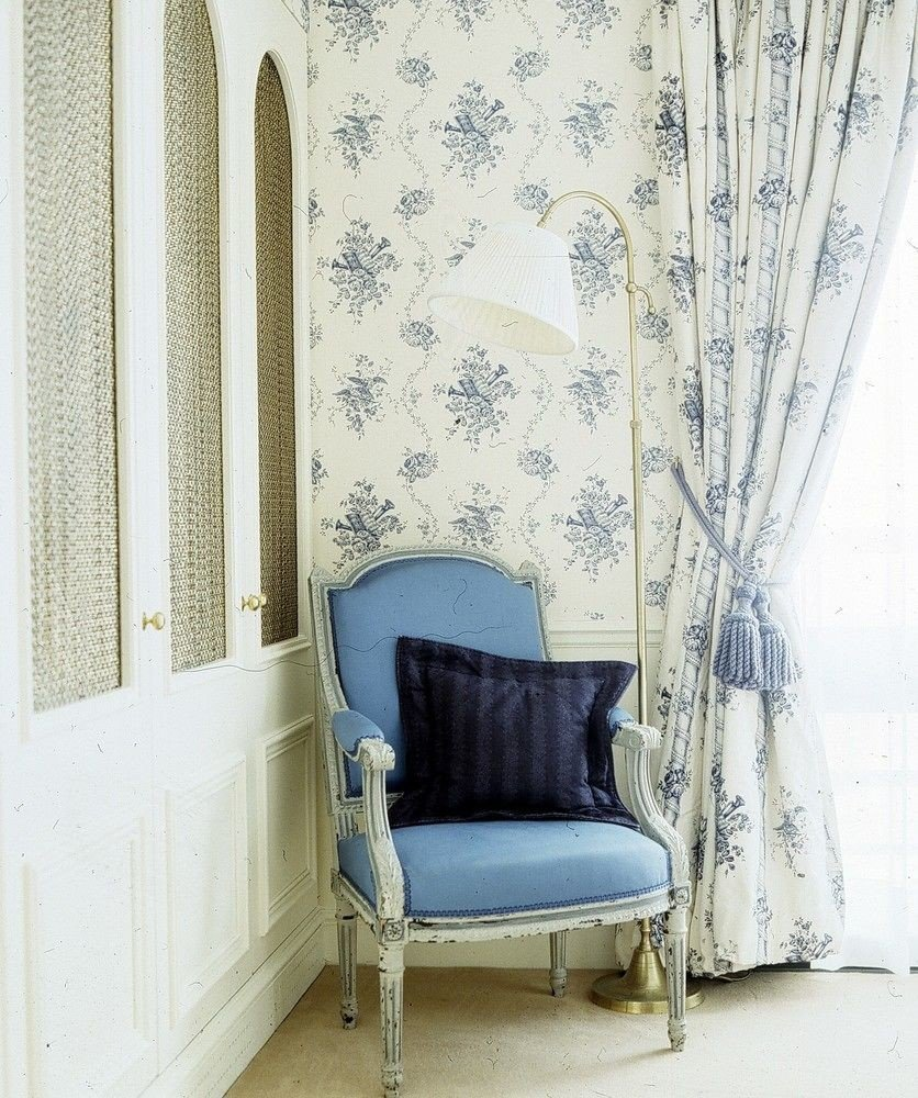curtain blue textile wallpaper window treatment studio couch living room decor material