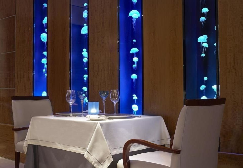 blue restaurant lighting function hall glass