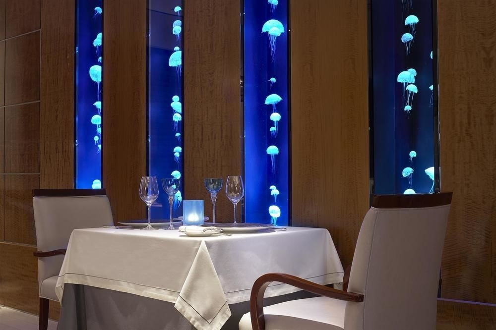 blue restaurant lighting function hall glass