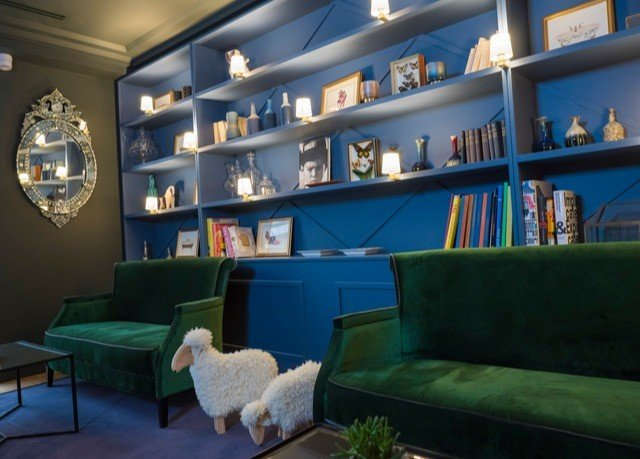 shelf green living room blue