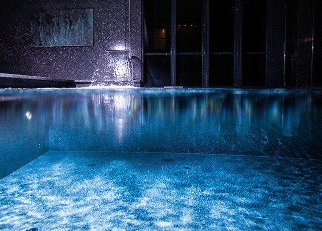 swimming pool blue water night light underwater