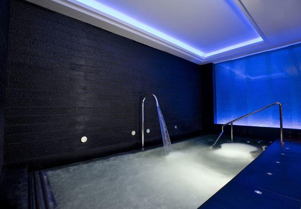 blue swimming pool lighting