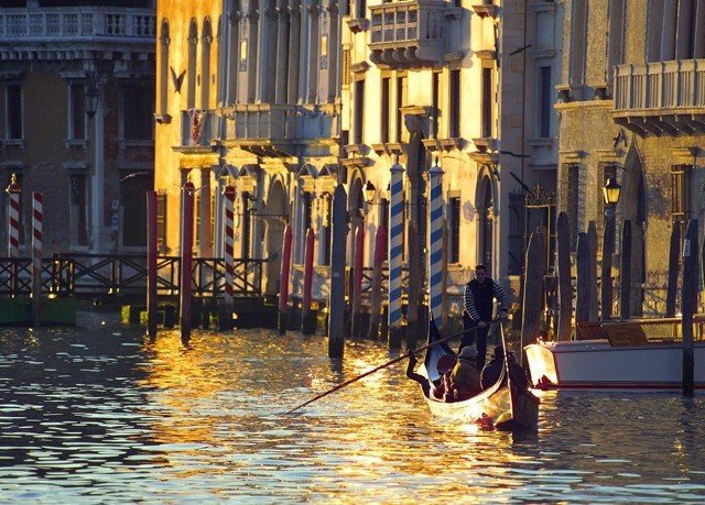 building water gondola Boat vehicle waterway evening boating Canal City watercraft