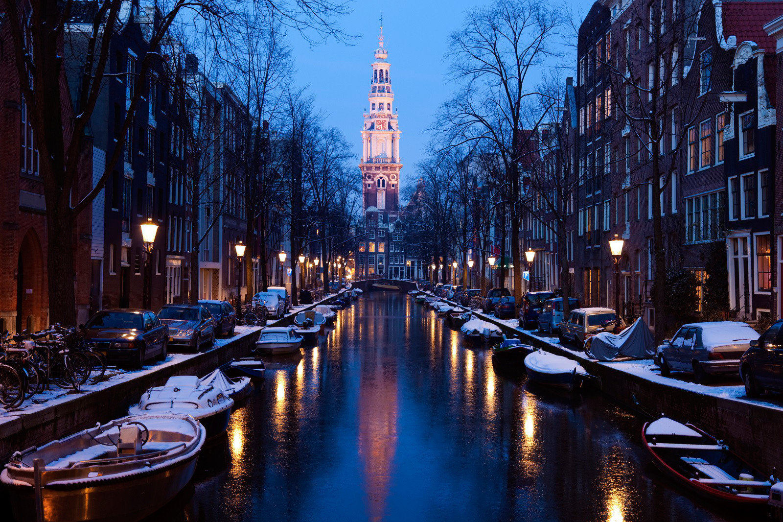 water Boat Canal night filled City waterway cityscape evening Downtown metropolis dusk full lined