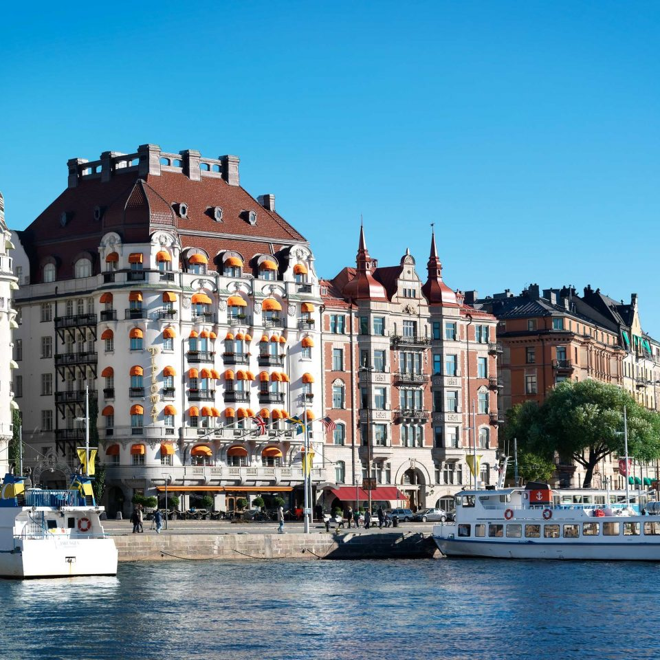 Elegant Exterior Hip Hotels Modern Stockholm Sweden water sky Boat building landmark Town Harbor City scene waterway cityscape vehicle Canal River day
