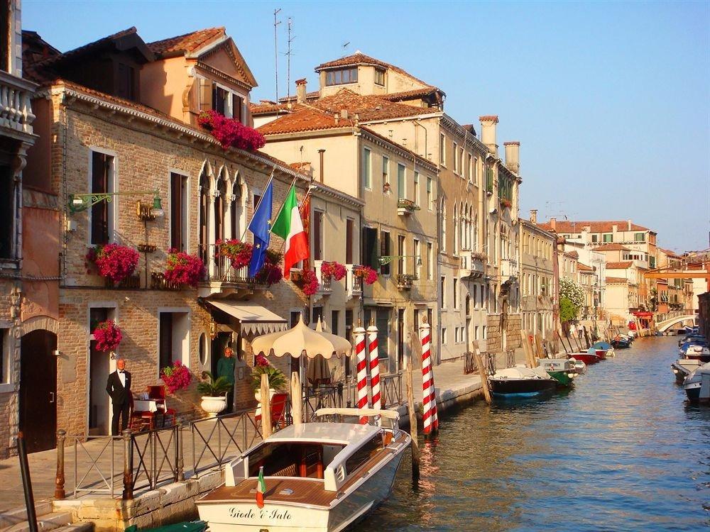 building water sky Town Boat Canal waterway scene neighbourhood Village cityscape