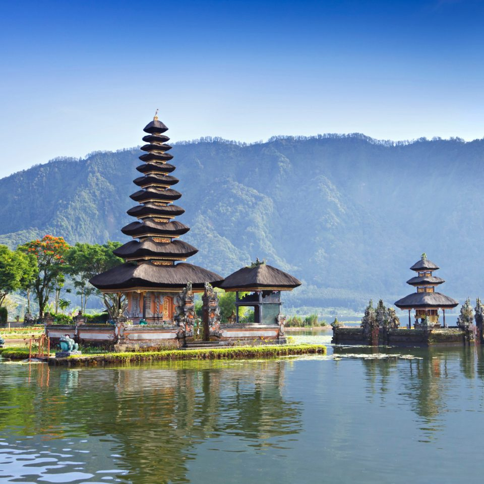 Waterfront water sky mountain Lake Boat Nature pond temple pagoda surrounded Island