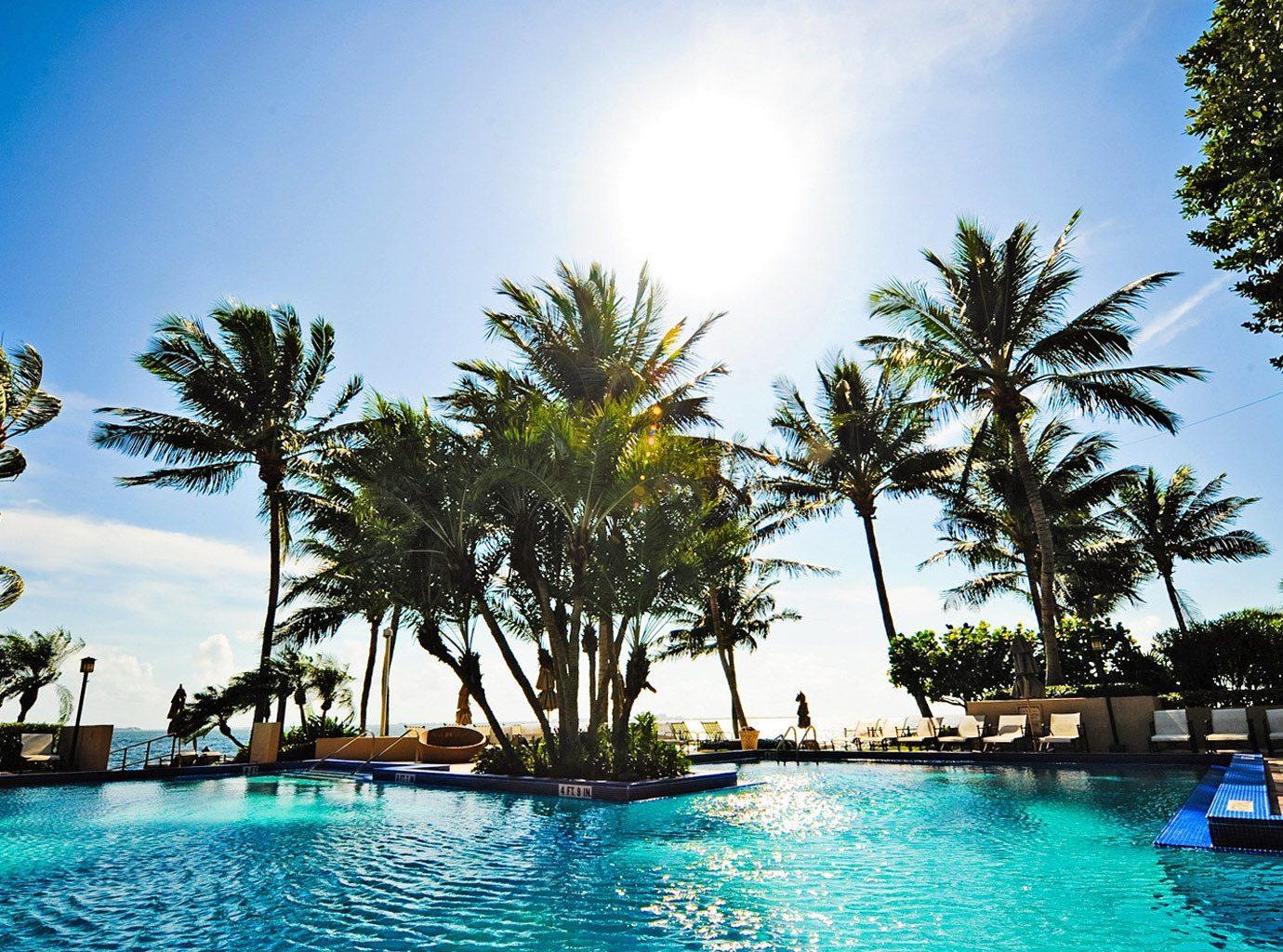 Patio Pool Tropical tree water sky Boat Resort swimming pool leisure caribbean palm arecales Ocean tropics blue Lagoon Sea swimming lined empty