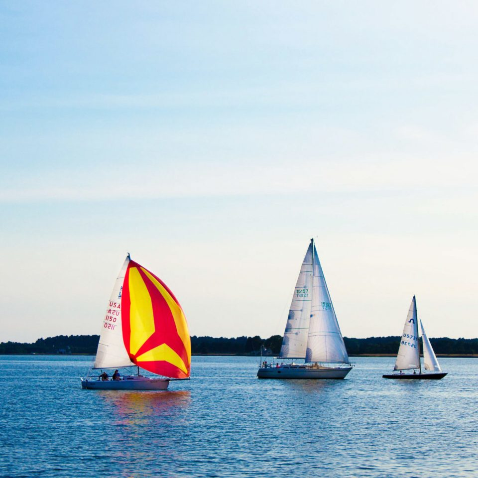 water sky Boat transport watercraft sailboat sail vehicle sailing vessel sailing Lake Sea sailing ship windsports sports floating dinghy blue distance day