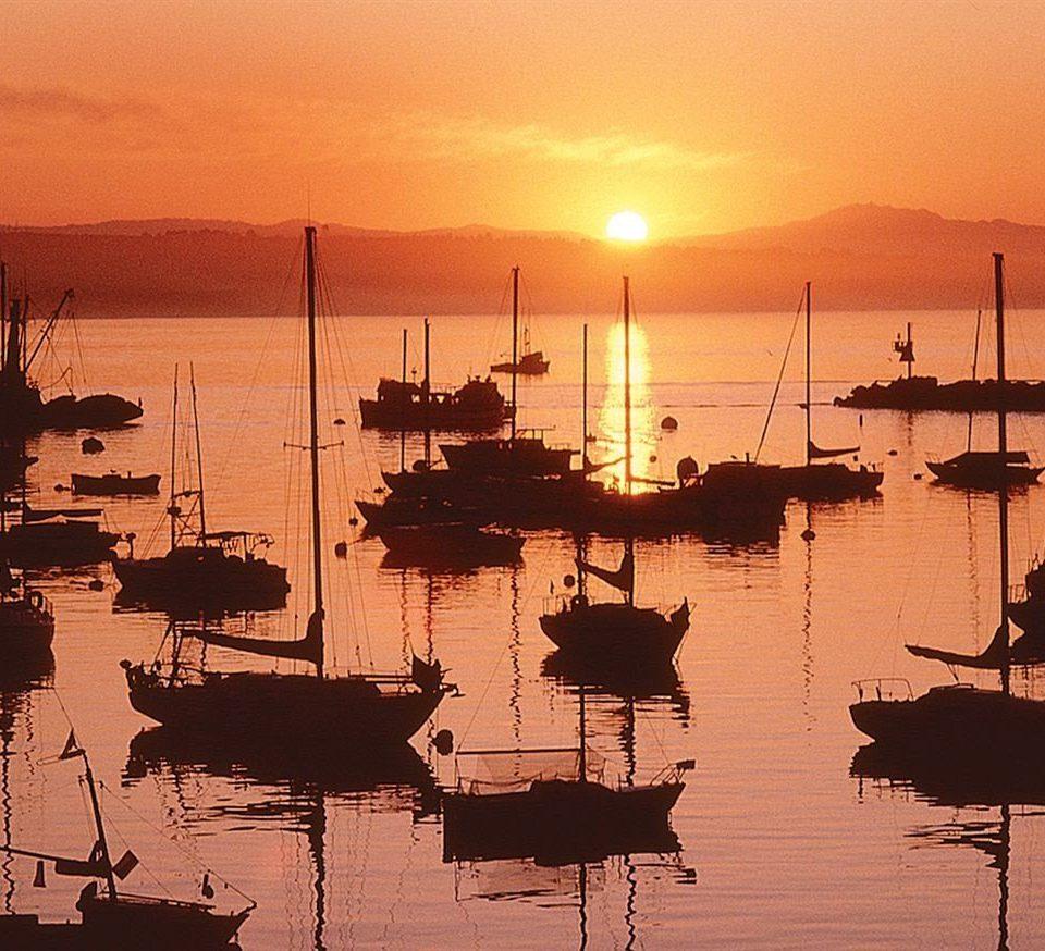 sky water Boat Sunset dock Sea sunrise afterglow marina dawn evening dusk vehicle