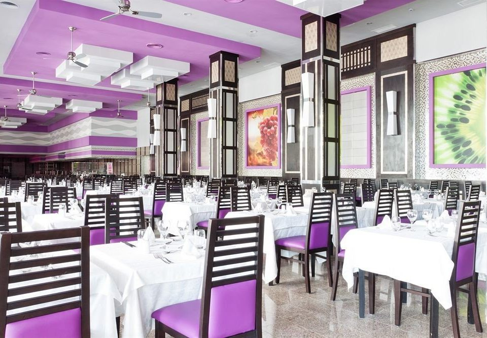 purple pink Boutique function hall restaurant aisle dining table