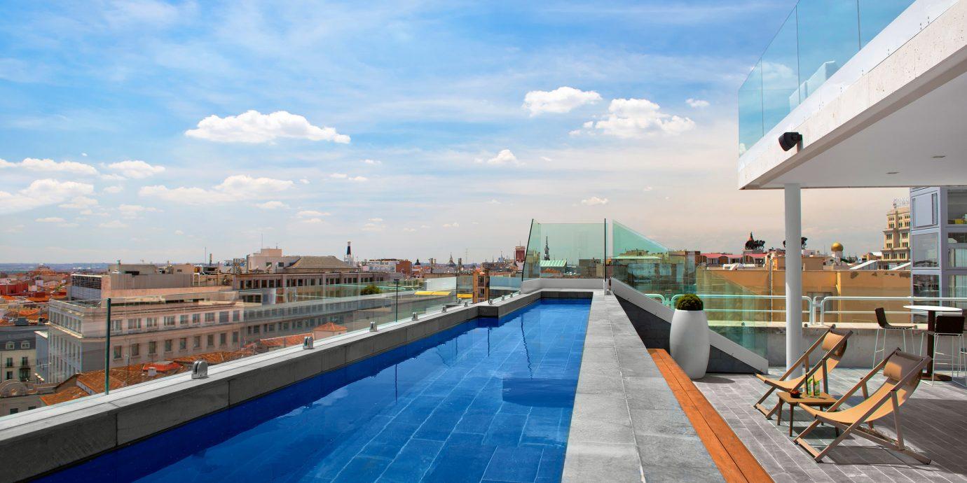 Boutique Budget City Hip Pool Rooftop sky swimming pool vehicle Sea dock walkway marina waterway blue