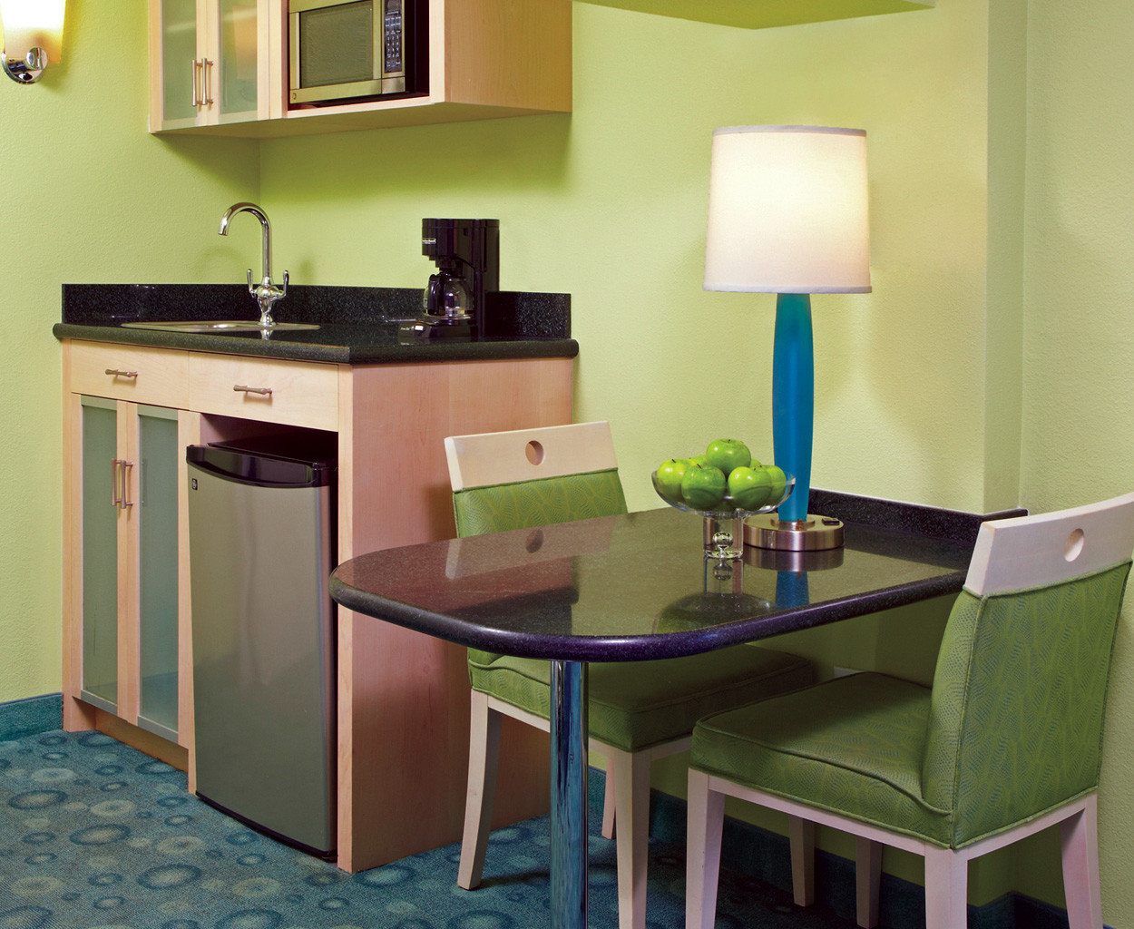 Boutique Budget Kitchen property desk green home office cabinetry cottage lamp
