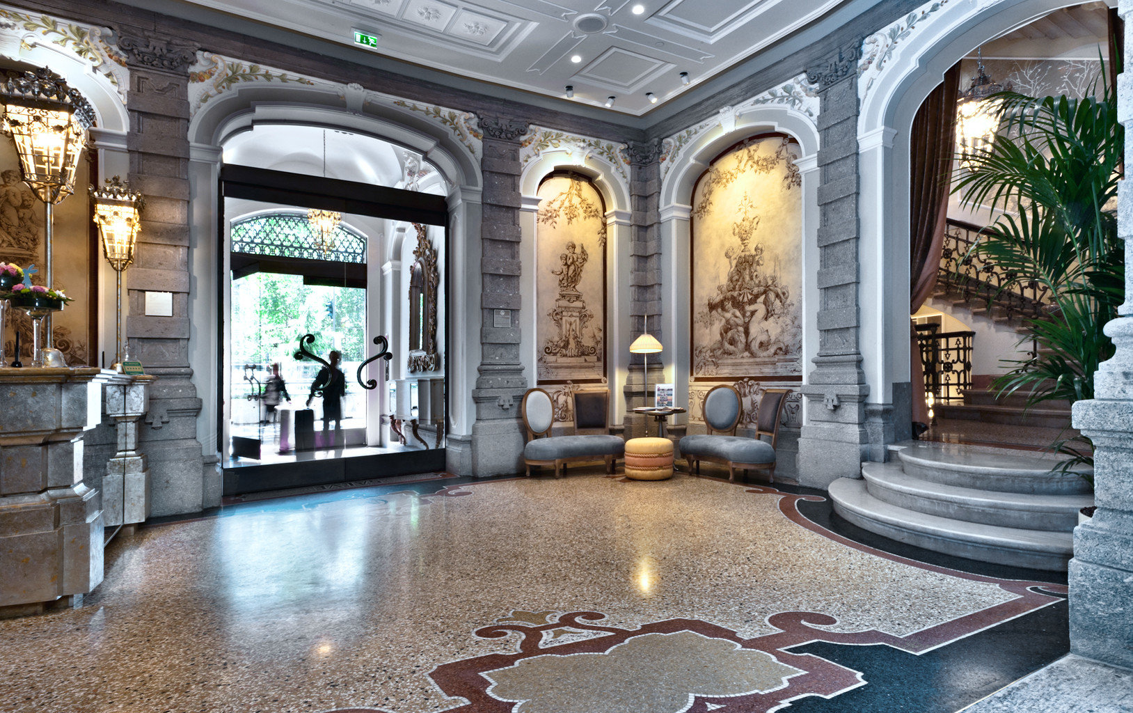 Boutique City Hip Lobby Lounge building plaza mansion Courtyard arch palace tourist attraction stone colonnade