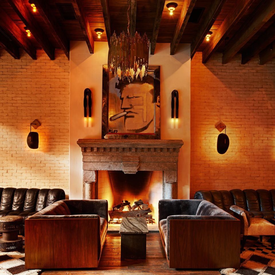 Boutique City Fireplace Hotels Lobby Lounge Modern Style + Design man made object restaurant