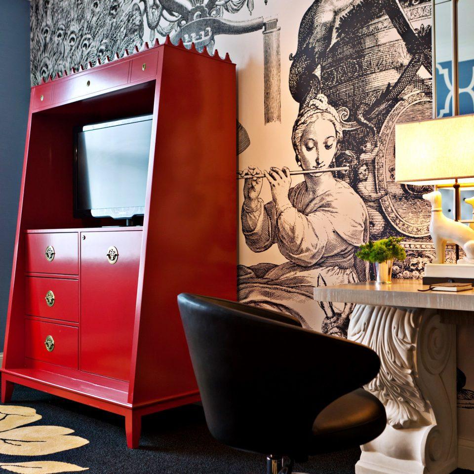 Boutique City Hip color living room art wallpaper illustration chair