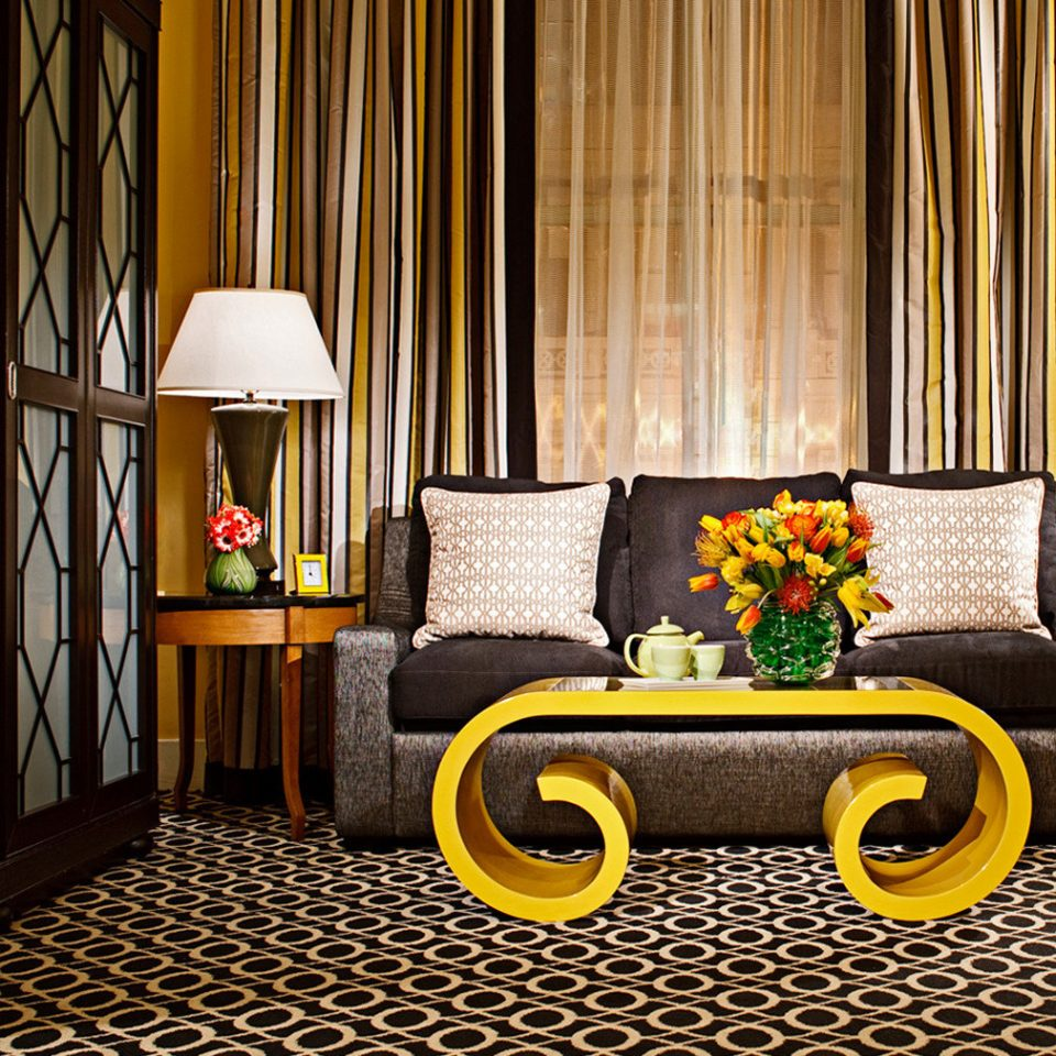 Boutique City Hip Suite living room yellow home flooring curtain textile window treatment