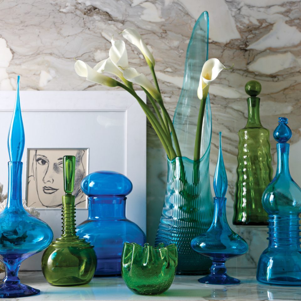 Boutique City Historic Lobby Lounge blue lighting glass bottle vase still life