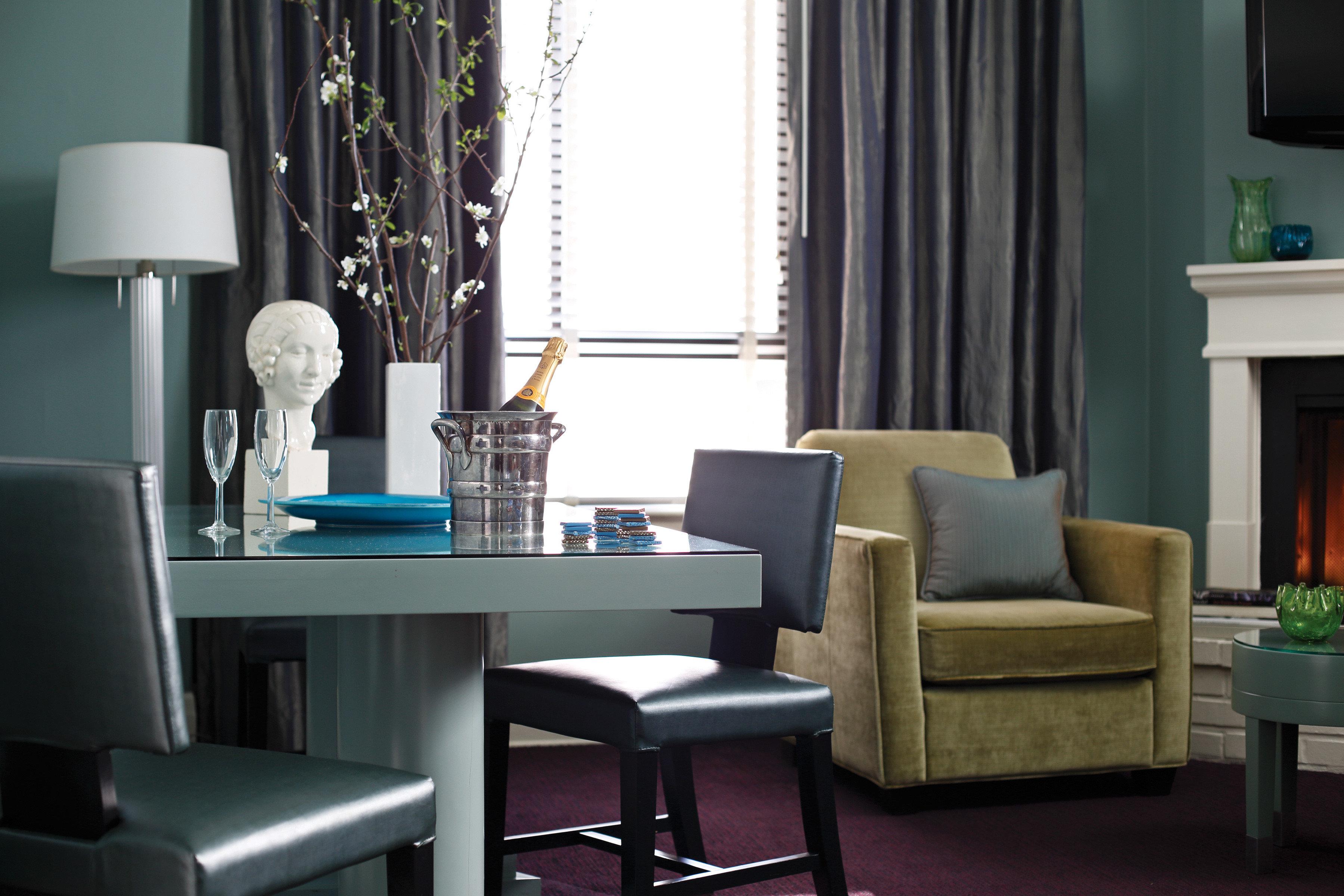 Boutique City Historic living room home condominium Suite lamp leather