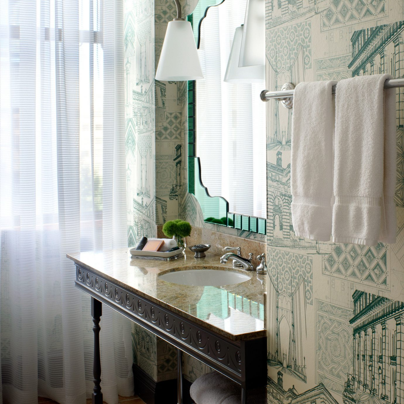 Boutique City bathroom curtain home Kitchen sink countertop window treatment material textile flooring tiled