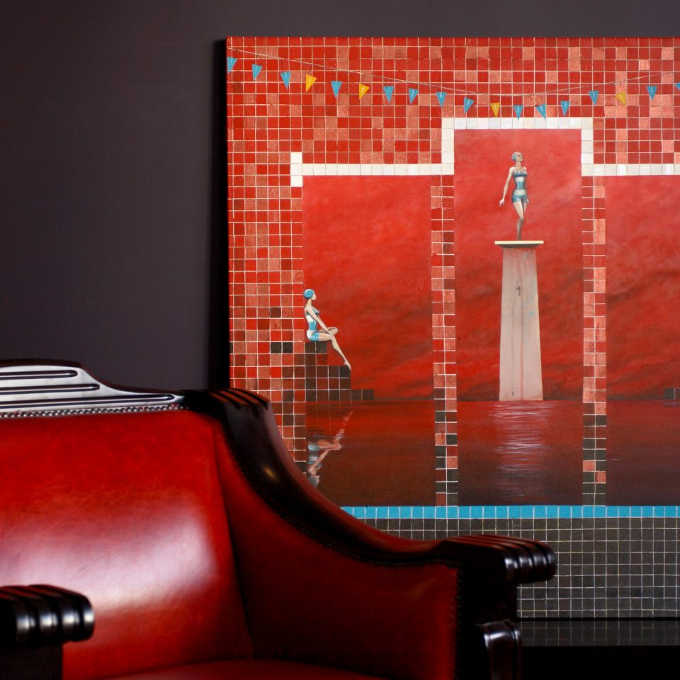 Boutique City Lounge red display device modern art screenshot illustration signage flat panel display