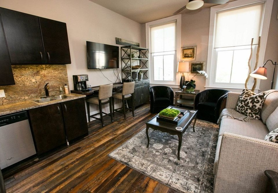 Boutique City Suite property living room home hardwood condominium cottage Villa Modern leather