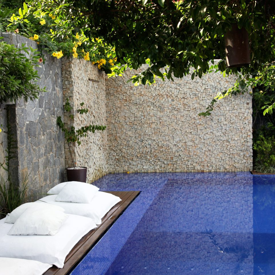 Boutique Garden Patio Pool Romantic tree swimming pool property backyard house yard Villa home cottage Courtyard concrete cement stone