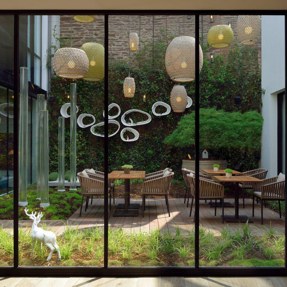 Boutique Lounge Modern Patio grass property glass lighting modern art Courtyard condominium