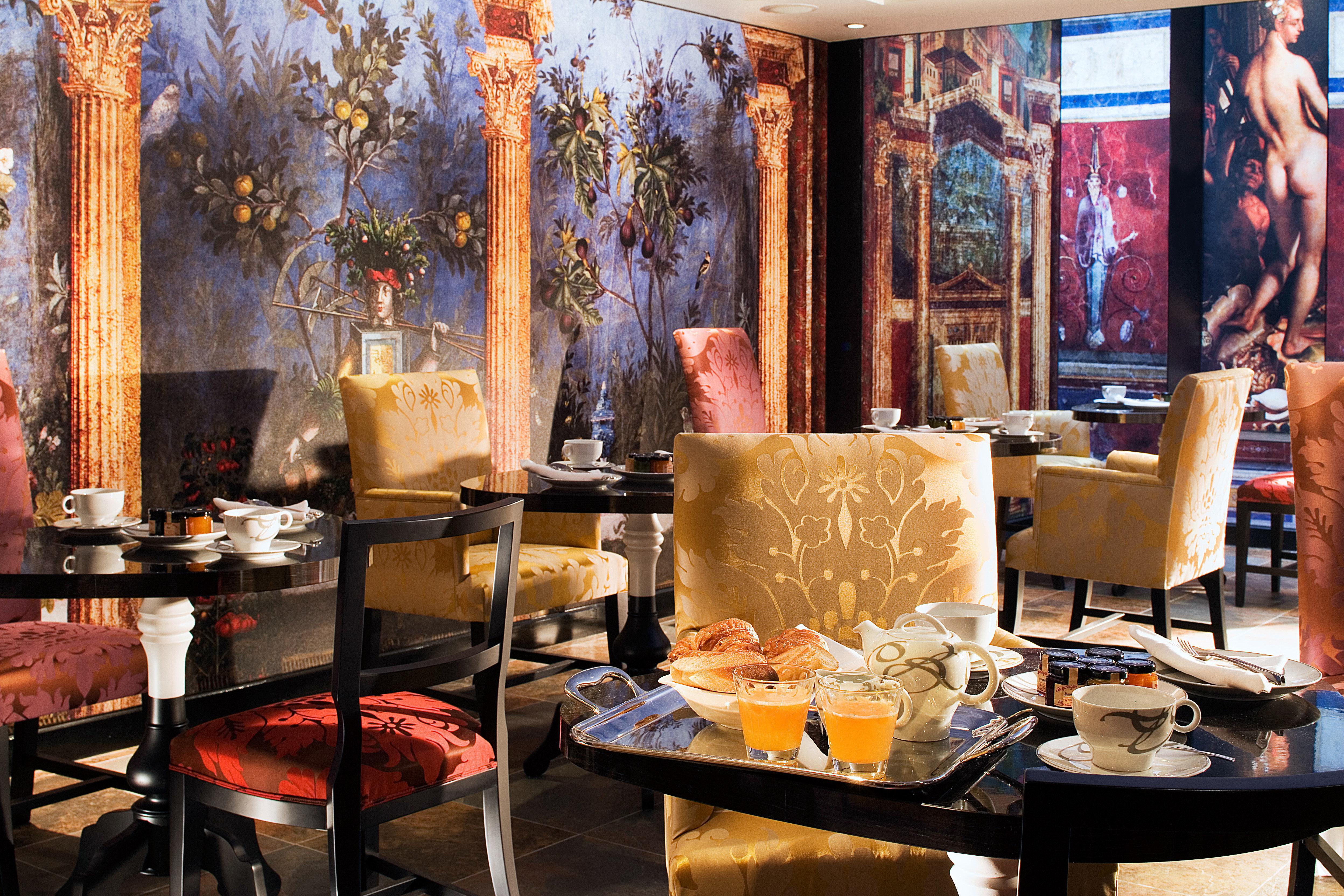 Dining Drink Eat Elegant Historic restaurant art Boutique living room cluttered dining table