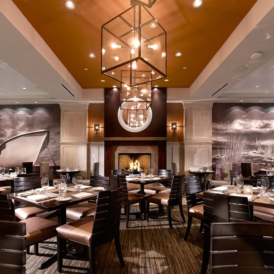 Boutique Dining Eat Fireplace Modern Waterfront restaurant Lobby lighting home function hall