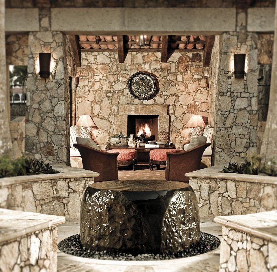 Boutique Drink Fireplace Lounge Modern Tropical home stone hearth living room cottage ancient history old