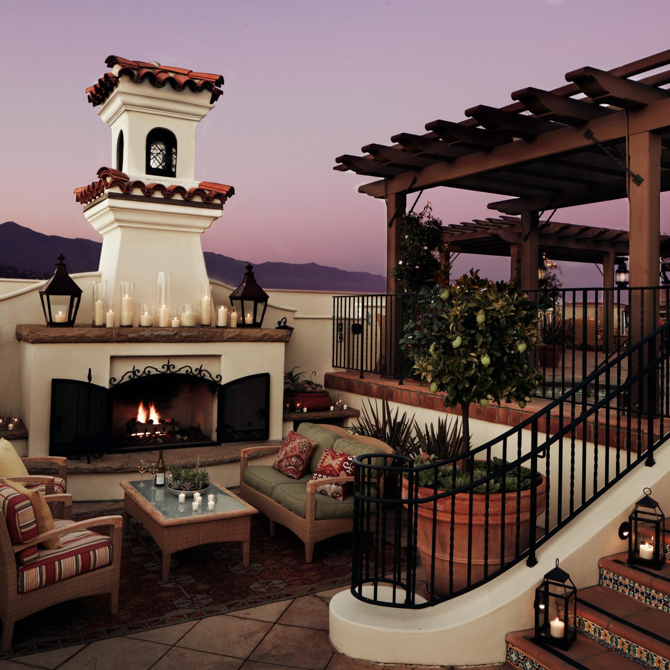 Boutique Elegant Exterior Fireplace Hotels Lounge Sunset Trip Ideas sky house mansion home Resort