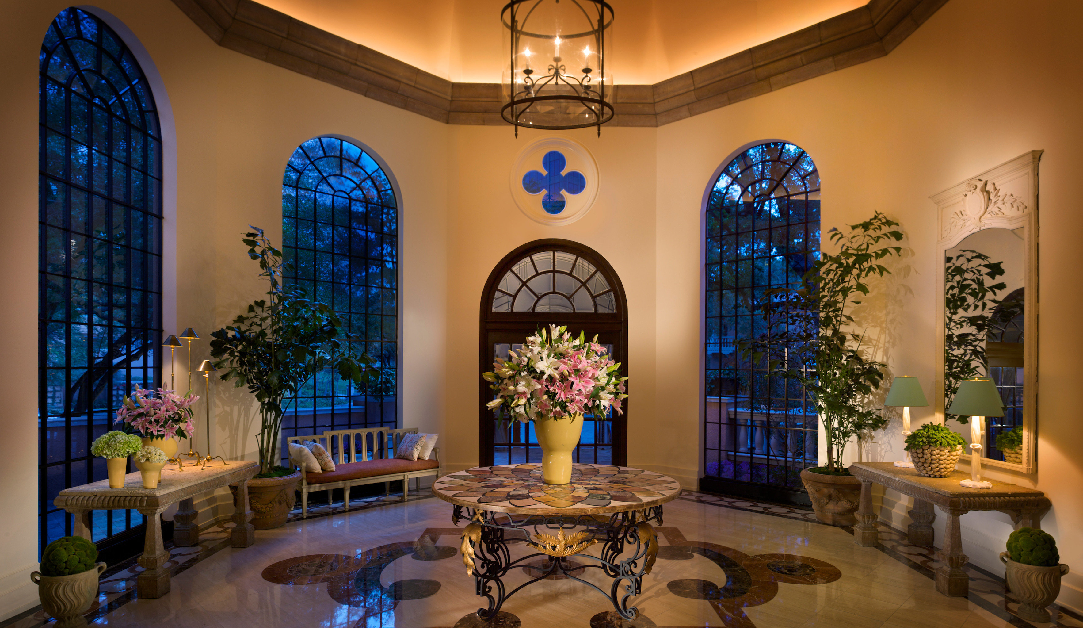 Boutique Elegant Romantic Lobby mansion home living room chapel colorful