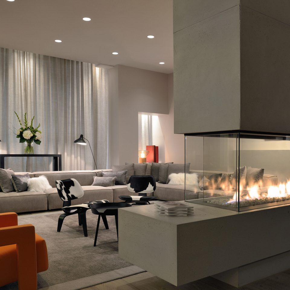 Boutique Fireplace Lounge Modern Lobby living room hearth lighting