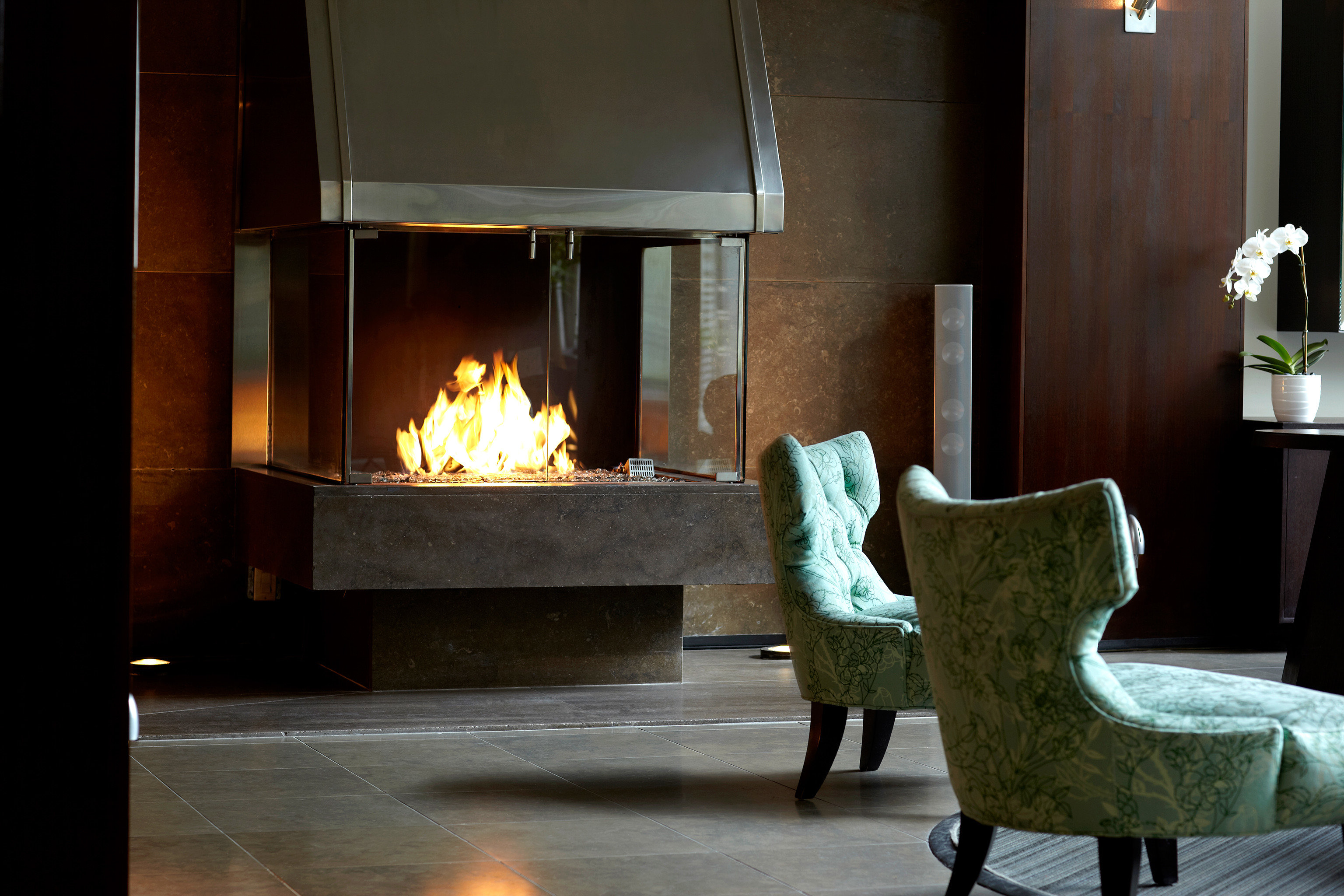 Boutique Fireplace Lounge Modern hearth living room home lighting flooring