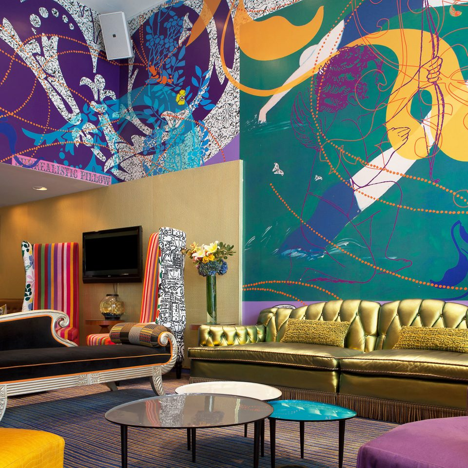Boutique Hip Lobby Lounge mural modern art wallpaper colorful